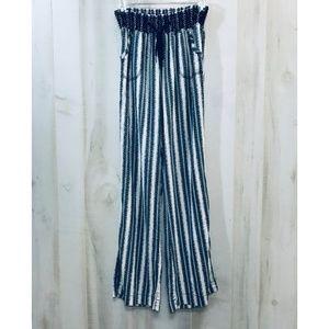 Rewash Blue Stripe Boho Pants Linen Wide Leg Med